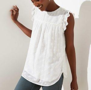 Loft Sparkle Daisy Ruffle Shell white sleevless